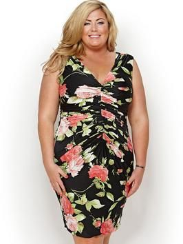 Gemma Collins Demark Rose Print Dress Available In Sizes 16 24