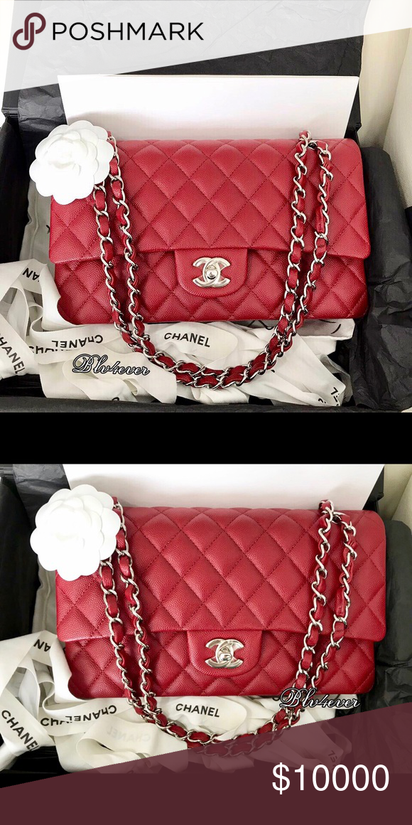 3928013100b0d9 This is the most sought after red bag from Chanel! CHANEL Bags Shoulder Bags.  ❤️FOR SALE❤️Authentic 17B Classic Red Caviar SHW ...