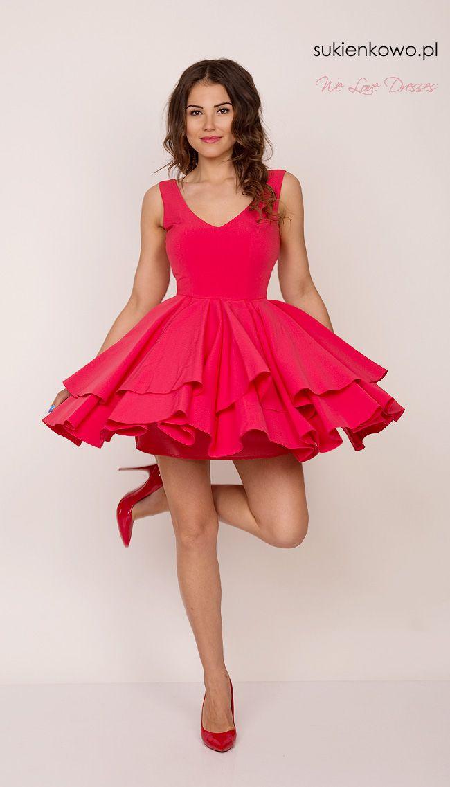 0a51a2fd Sukienkowo.pl - Rozkloszowana sukienka z dekoltem malinowa SARA ...