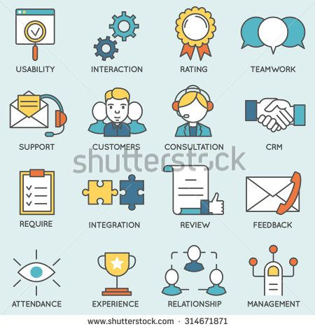 Vector Set Of Icons Related To Customer Relationship Management Flat Line Pictograms And Infographics Design Ele Illustration Vectorielle Illustration Gestion