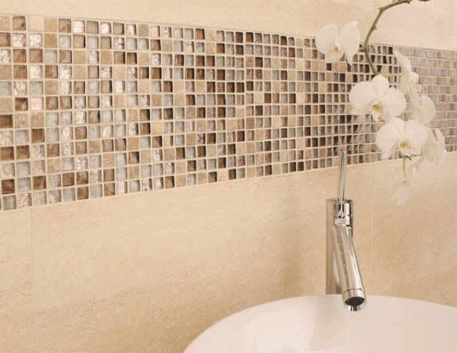 Mini Mix Mosaic Small Pieces Of Glass Mosaic Mixed With Coordinating Natural Stone Mosaic Bring Your Walls A With Images Tile Bathroom Mosaic Bathroom Tile Beige Bathroom