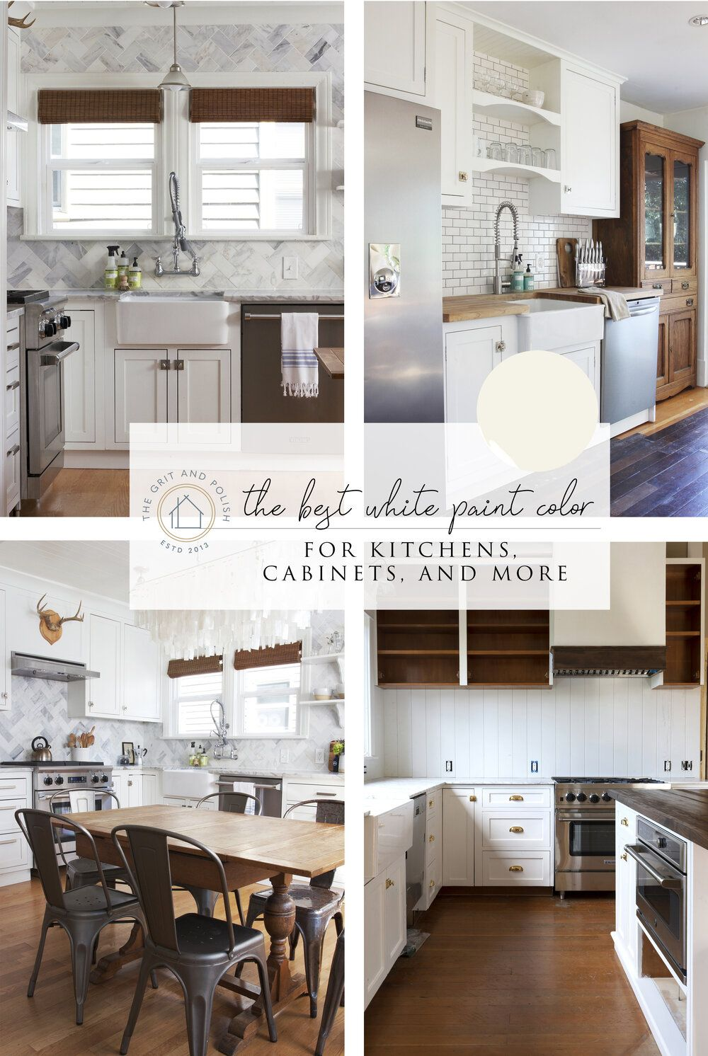 Our Favorite White Paint Color For Kitchens Cabinets The Grit And Polish Kitchen Paint Colors White Paint Colors White Kitchen Paint