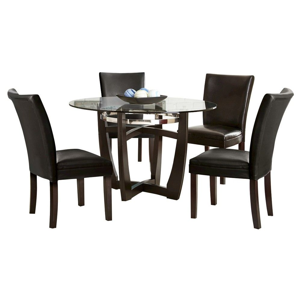 Steve Silver Co5 Piece Margo Dining Table Set Woodbrownblack Mesmerizing Black And Silver Dining Room Set Inspiration Design