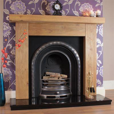 Ashford Rustic Oak Fireplace with Henley Cast Iron Arch Insert -£845 full  set - Ashford Rustic Oak Fireplace With Henley Cast Iron Arch Insert