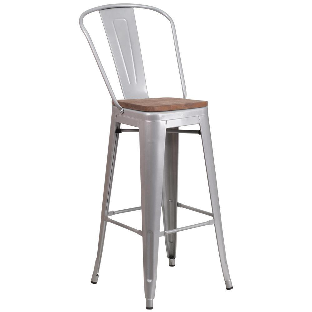Flash Furniture 30 5 In Silver Bar Stool Cga Ch 243605 Si Hd Metal Bar Stools Silver Bar Stools Bar Stools