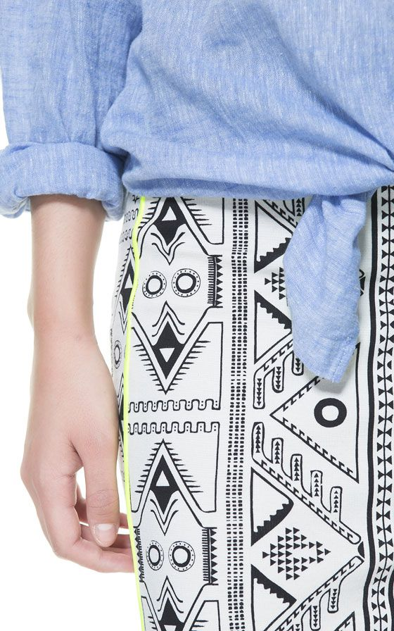 Image 5 of PRINTED PENCIL SKIRT WITH NEON DETAIL from Zara