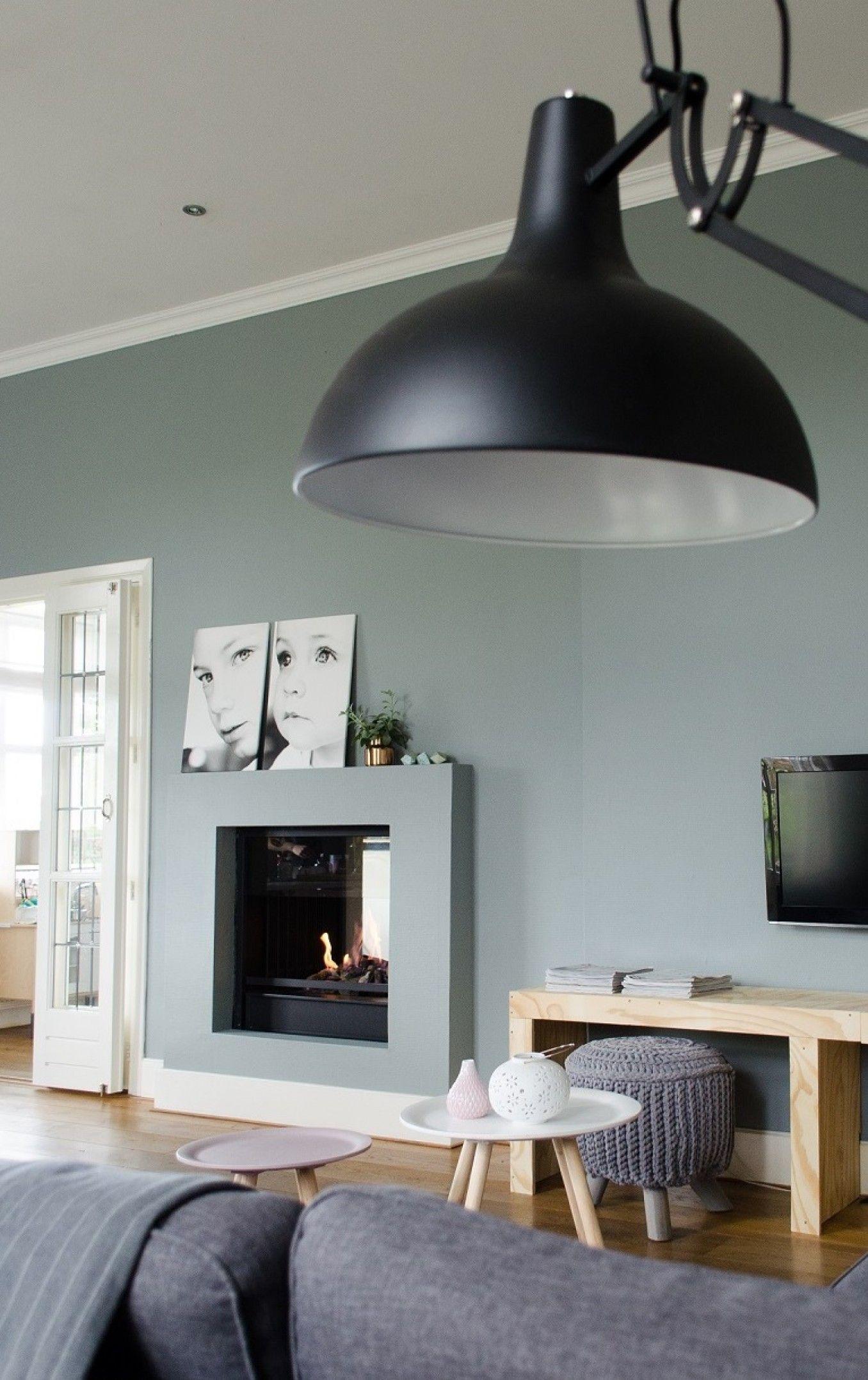 Kleur muur groen/grijs - Ideeën voor het huis | Pinterest - Haard ...