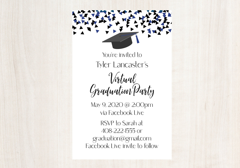 Social Distancing Virtual Graduation Party Invitation Etsy Virtual Graduation Virtual Graduation Party Graduation Party Invitations