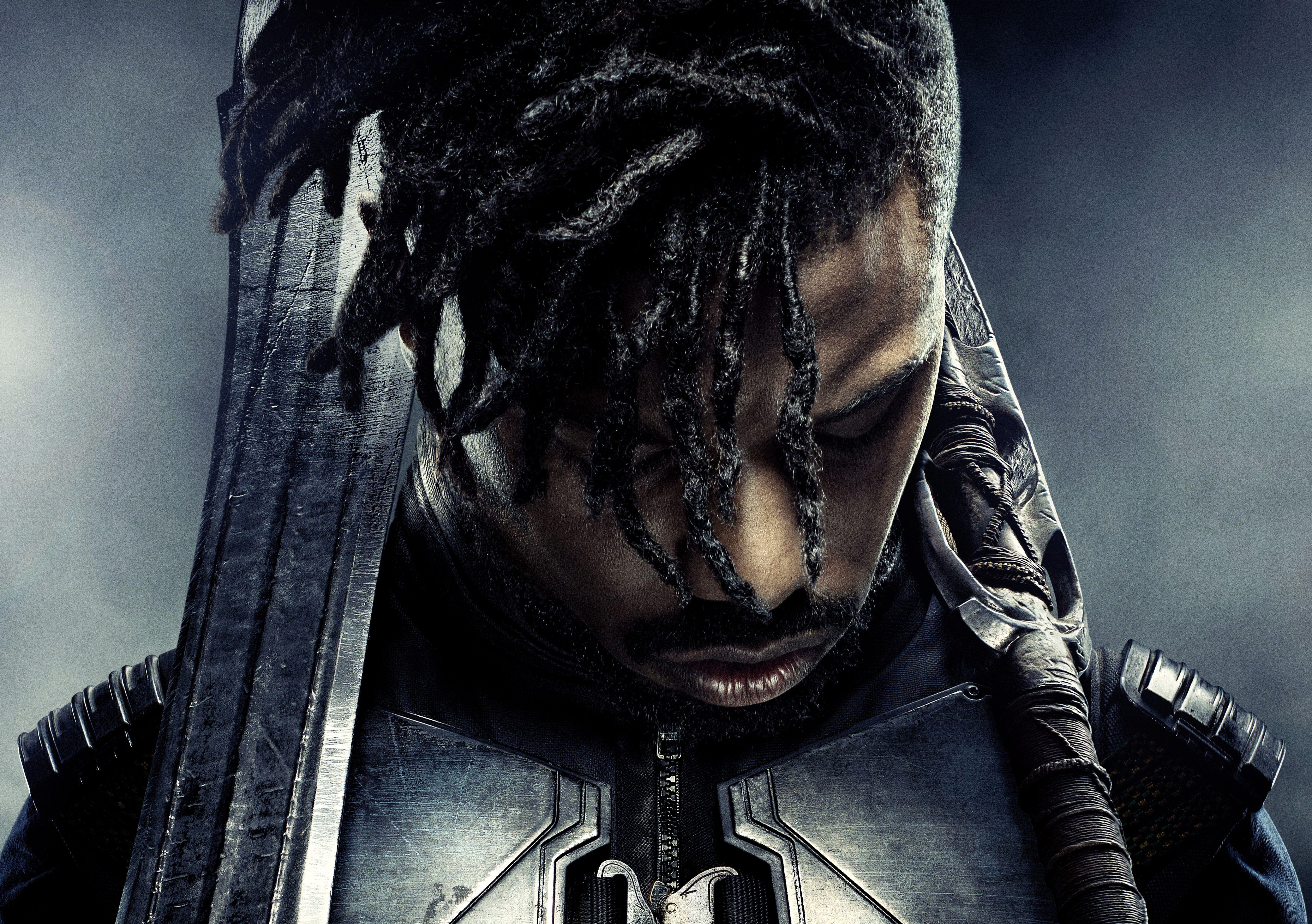Movie Black Panther Black Hair Black Panther Movie Erik Killmonger Michael B Jordan Swor Black Panther Hd Wallpaper Black Panther Images Black Panther Art