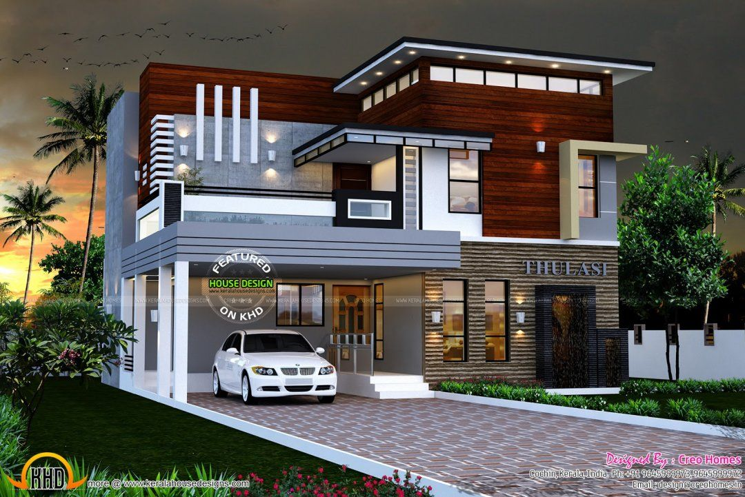 House Front Elevation Models Exterior Designs Of Small Houses Modern Wood Siding Kerala Photos Conte Kerala House Design Small House Design Duplex House Design