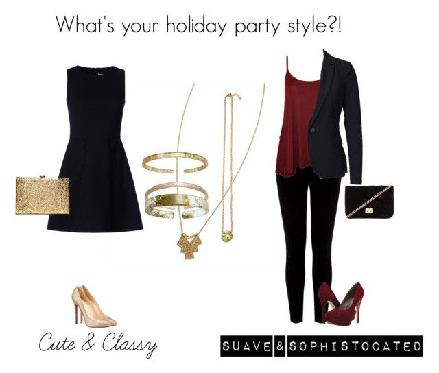 """""""CBA Holiday Party Style"""" by eastlyn-megan on Polyvore featuring RED Valentino, Warehouse, WearAll, Vero Moda, Michael Antonio, Christian Louboutin and Forever 21"""