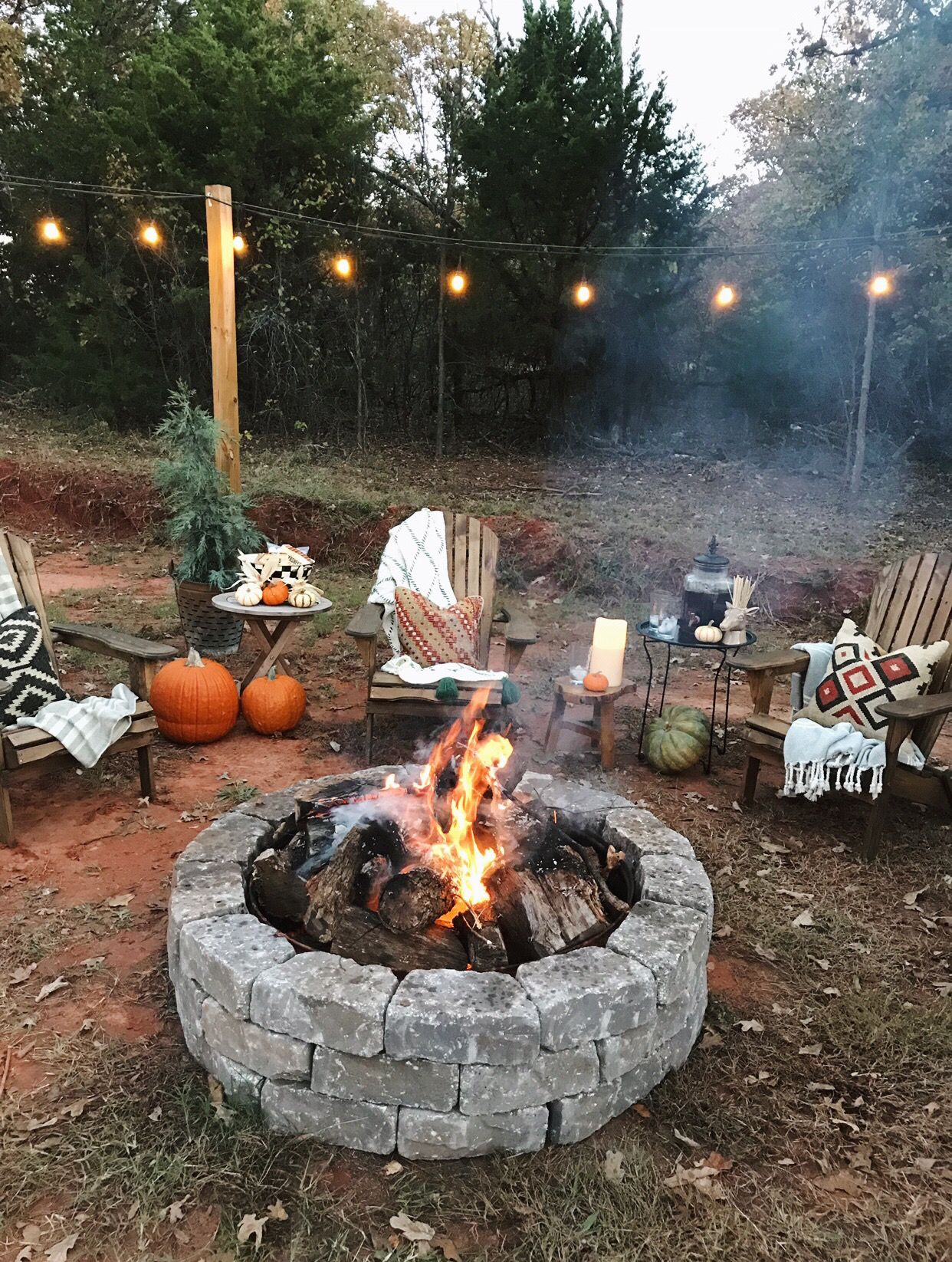 DIY fire pit area on a budget Backyard camping, Fall