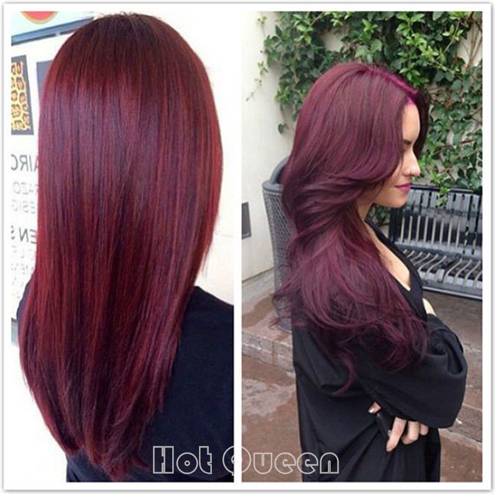 Purple brazilian remy real human hair wigs straight lace front full