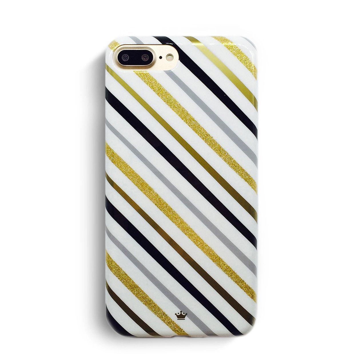 White Glitter Strip - iPhone 7 Case