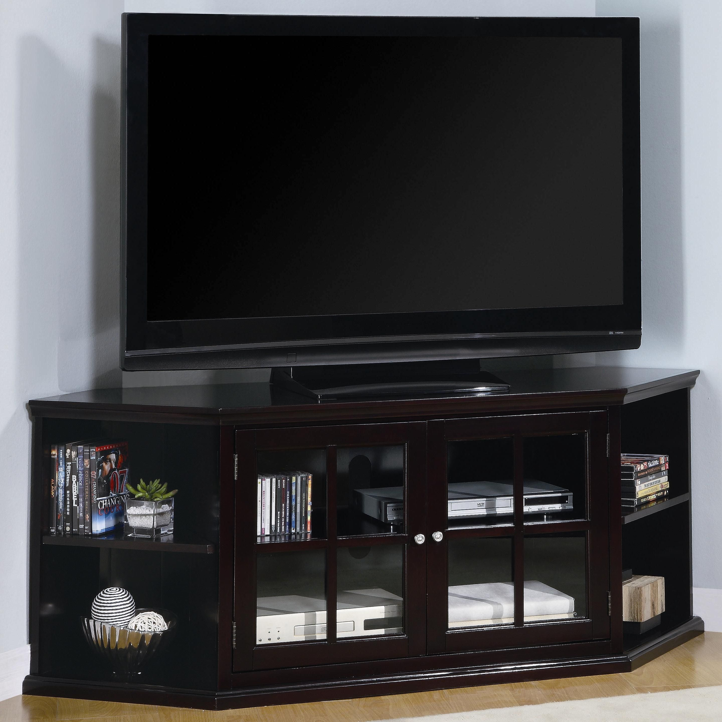 This Transitional Corner Tv Unit With Glass Doors Has Clean Simple
