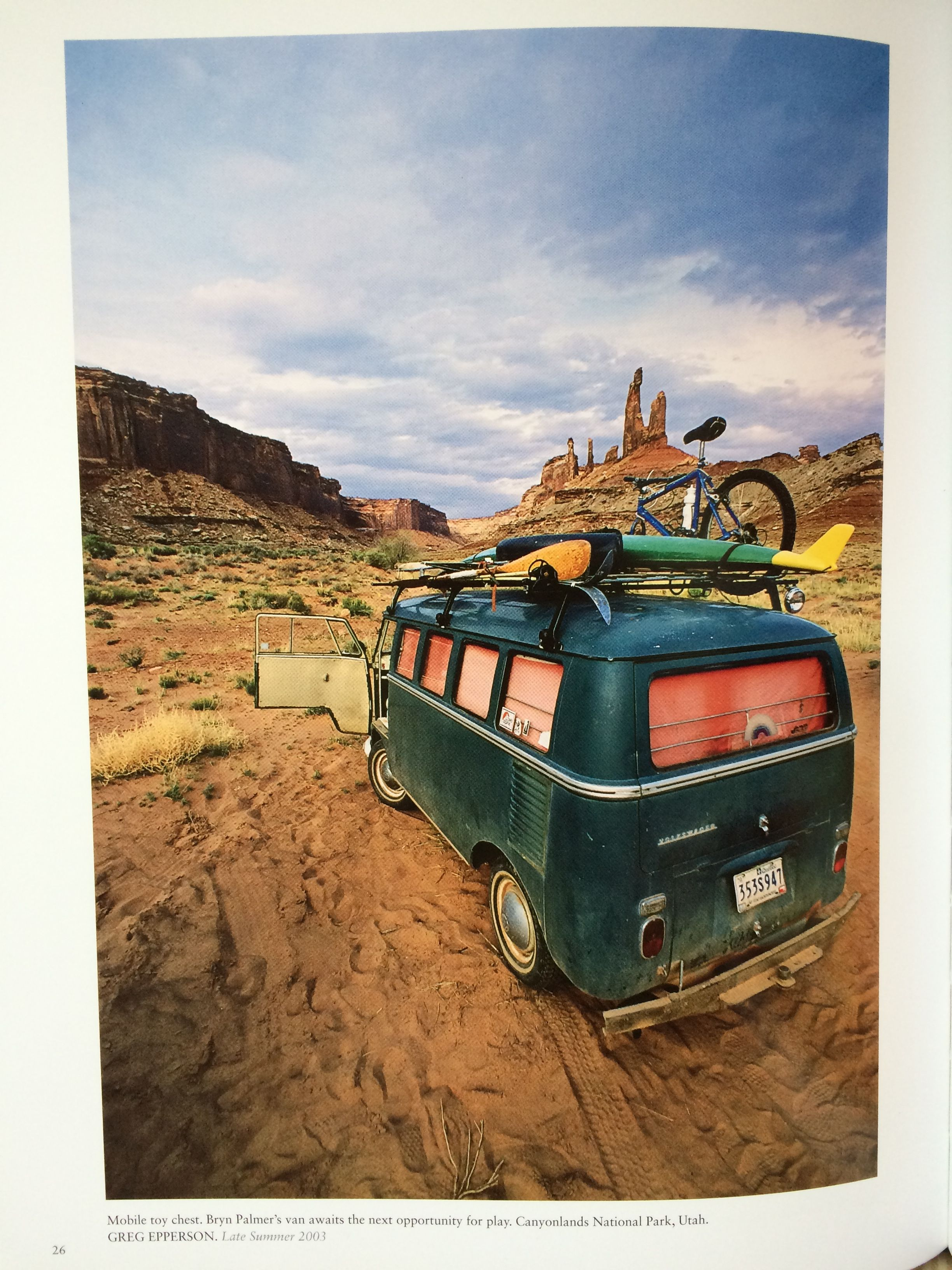 """""""Mobile toy chest. Bryan Palmer's van awaits the next opportunity for play."""" Canyonlands National Park, Utah. Photo: Greg Epperson in Unexpected: 30 Years of Patagonia Catalog Photography. http://bit.ly/1Cbmxul"""
