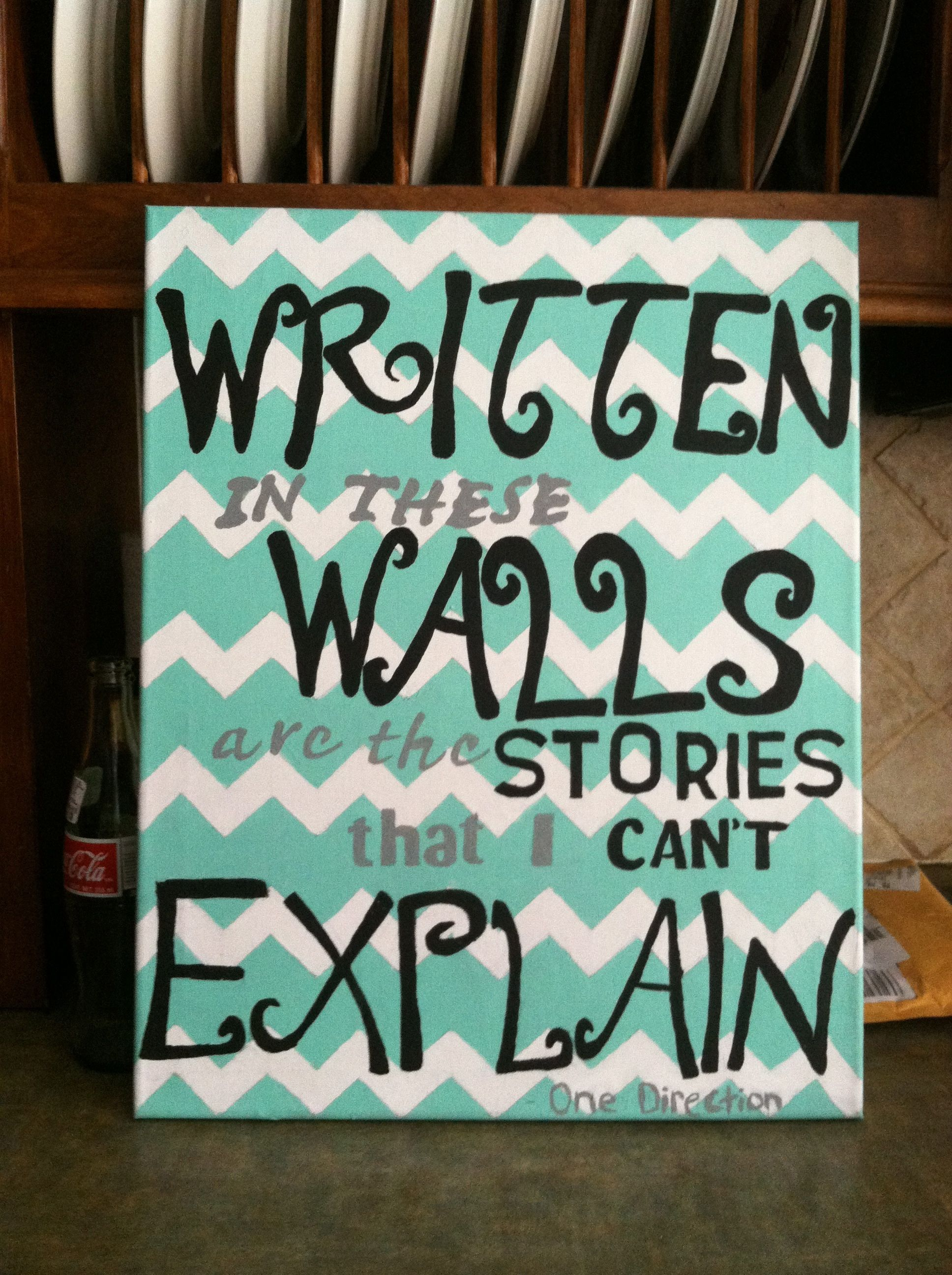One Direction lyric on a canvas story of my life ...