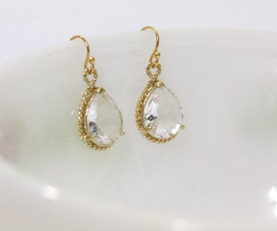 Bridesmaid gifts - Set of 5 - Clear crystal drop earring, Gorgeous Drop ,stone in twisted bezel. $94.00, via Etsy.