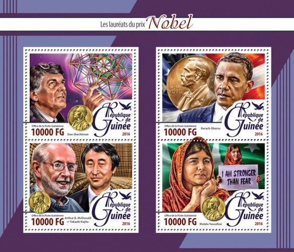 GU16219a The Nobel Laureates (Dan Shechtman; Barack Obama; Arthur B. McDonald with Takaaki Kajita; Malala Yousafzai)