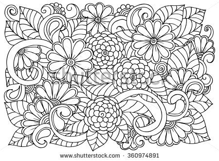 Doodle floral pattern in black and white. Page for coloring book ...