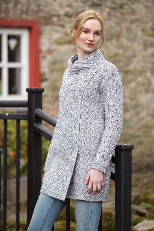 Side Zip Aran Coat by Natallia Kulikouskaya for Arancrafts of ...