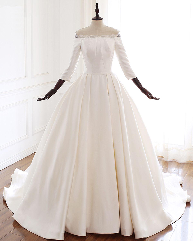 Simple white satin off shoulder long evening dress wedding dress