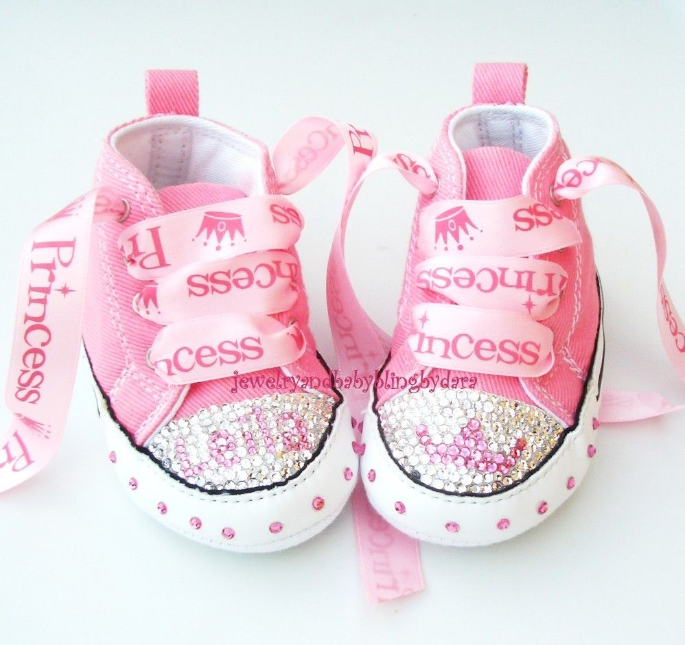 62f27bec736e Baby Bling Infant Crystal Princess Tiara PERSONALIZED Chuck Taylor Pink  Infant Converse Sneakers. Etsy.
