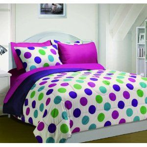 Purple bedding cute polka dots comforter sets purple for Polka dot bedroom ideas