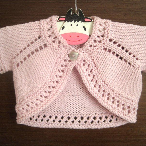 A super cute and quick-to-knit bolero with a pretty eyelet ...