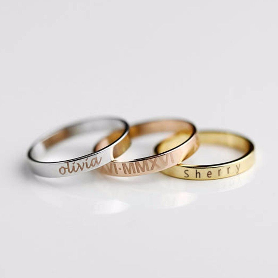Personalized Ring With Engraved Name Date Personalized Name