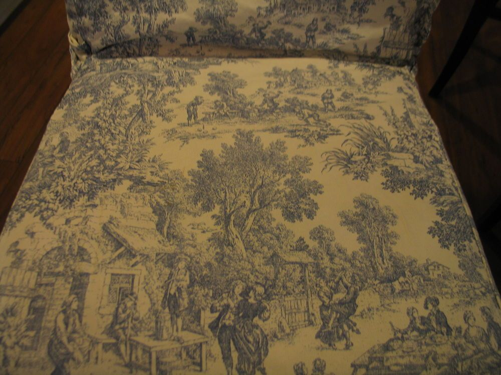 Waverly Garden Room Dining Chair Covers waverly garden room lapis fabric chair cover,blue toile flower