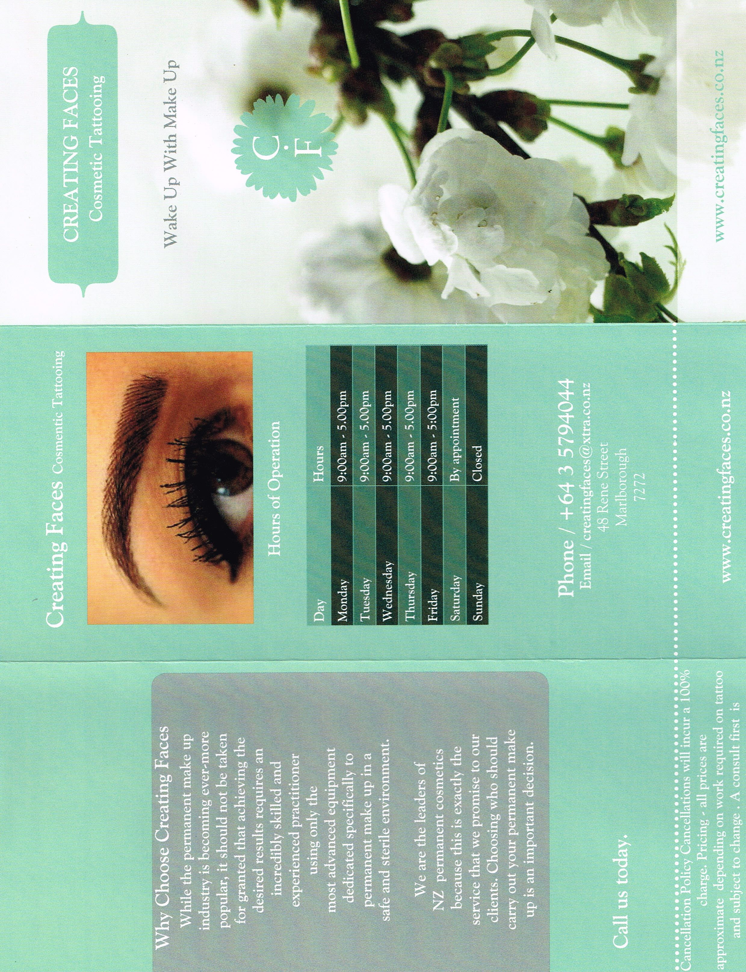 One side of the Creating Faces brochure, Danielle said she likes this colour, and I agree. I also like the C over the F on the front, but it doesn't match the banner or Facebook.