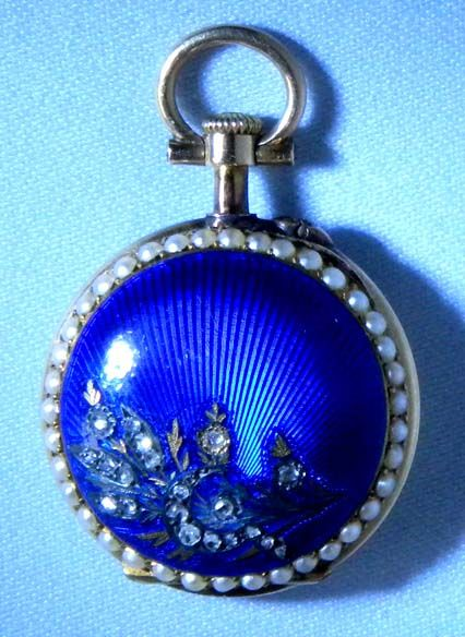 Gold, Pearl and Enamel - Bogoff Antique Pocket Watch # 7021