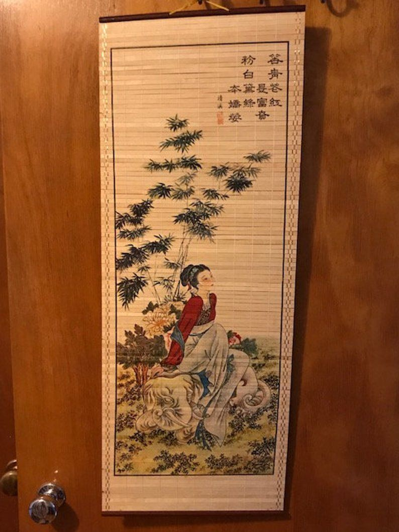 Asian Roll Up Wall Art Wooden Scroll Wall Hanging Oriental