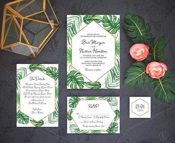 modern tropical wedding invitation printable wedding invitation template set tropical wedding beach wedding