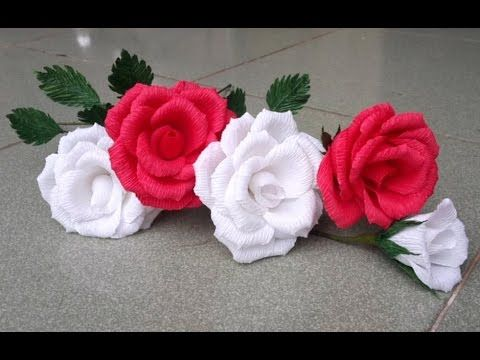 Rose With Crepe Paper Craft Tutorial Paper Flower Tutorial Paper Flowers Crepe Paper Crafts