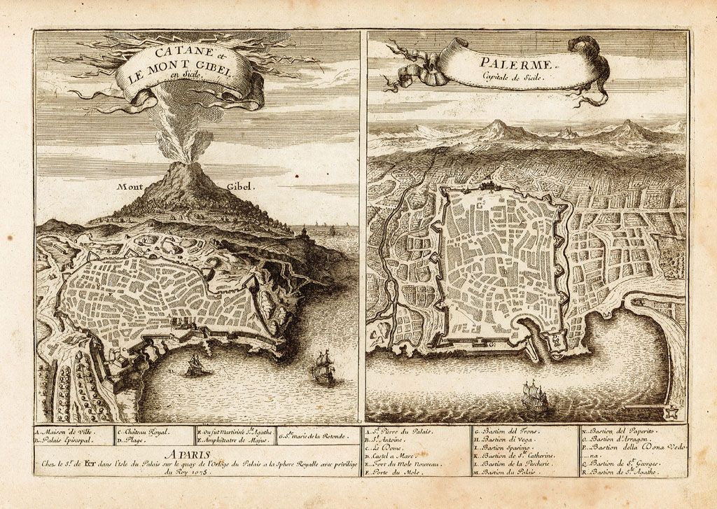 De Fer Nicolas dis. & edit. Etna - Catania - Palermo - 1705