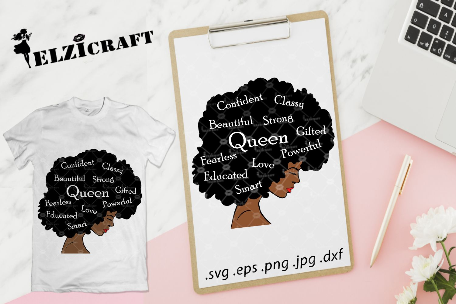 Afro Woman, Queen Life, Afro Hair (Graphic) by elzicraft