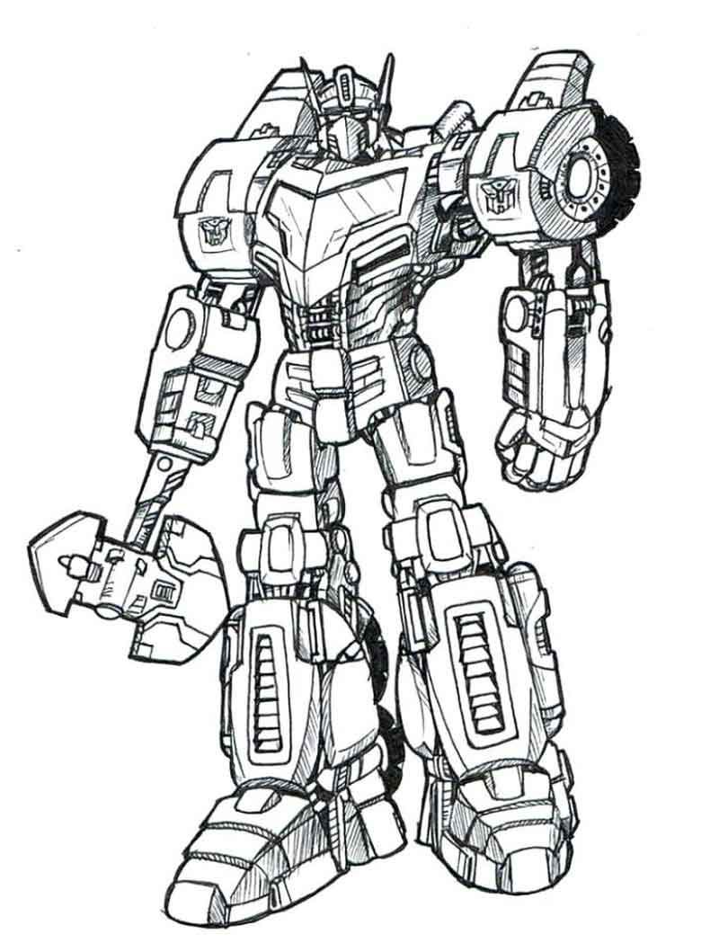 Transformers Optimus Prime Coloring Page Printables From Movie