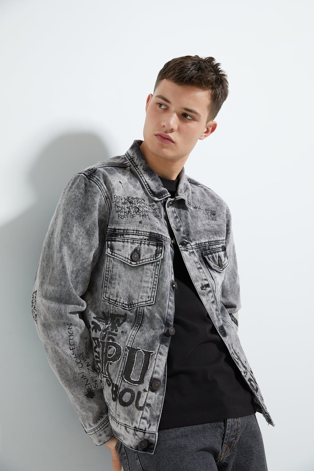 Graffiti Denim Jacket Jackets Man Zara United States Denim Fashion Zara Man Jacket Jackets [ 1536 x 1024 Pixel ]
