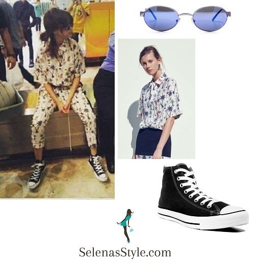 buy Selena Gomez palm print shirt and trousers black sneakers blue and  silver sunglasses Indonesia July 2016