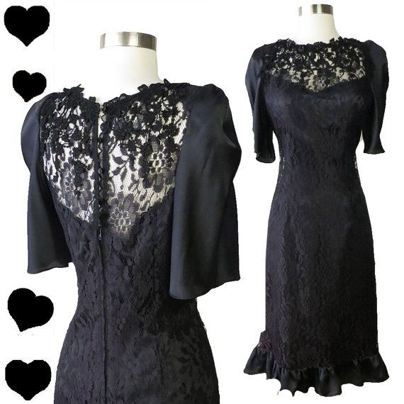 Vintage Dress Black Lace Ruffle Party S Fler Jazz Age Great Gatsby Flutter Fl Prom Dance Tail Glam