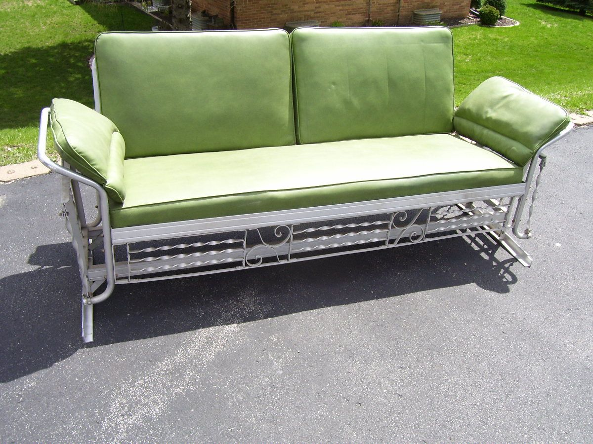 Metal Glider Sofa Cushion Cleaning Vintage 1950s Porch All Original Even The Fabric