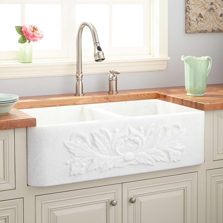 36 Ivy Polished Marble Double Bowl Farmhouse Sink White Thassos