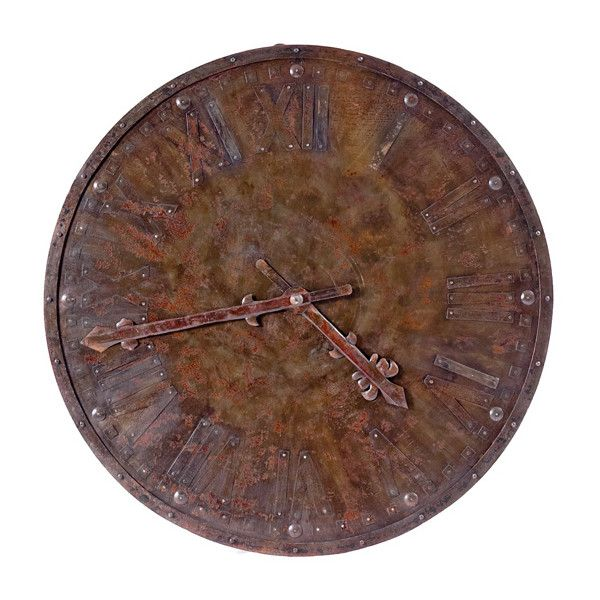 Oversized Rustic Station Clock ($1,175) ❤ liked on Polyvore featuring home, home decor, clocks, decor, rustic home decor, iron wall clock, handmade clocks, rustic clocks and iron home decor