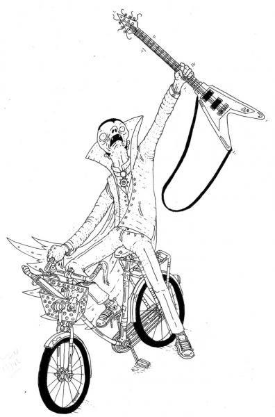 www.artunika.dk / www.artunika.com Draculas Bike - 30 x 42 cm., A3. En original illustration af Rune Alexandersen.  Tegningen er udført på tykt syrefrit arkiverbart papir. Tegningen kommer ikke indrammet....