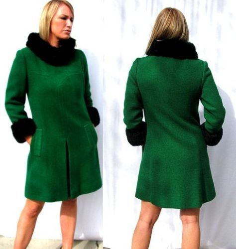 Vintage 60s Emerald Green Wool Mod Coat with fur trim