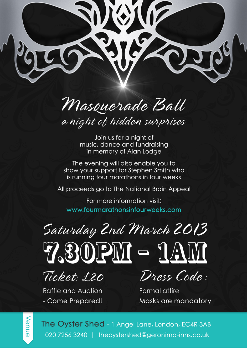 masquerade ball an event flyer created to promote a masquerade ball