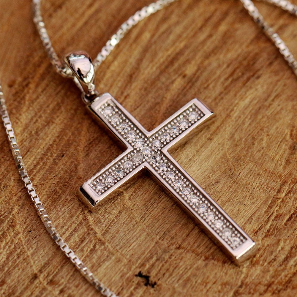 925 sterling silver holy cross with cz stones pendant chain 925 sterling silver holy cross with cz stones pendant chain necklace w gift box mozeypictures Gallery
