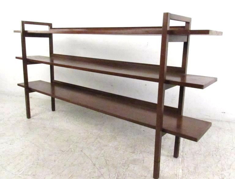 Mid Century Bookcase This Unique Mid Century Bookshelf Features Three Open Back Walnut S Low Bookshelves Mid Century Modern Room